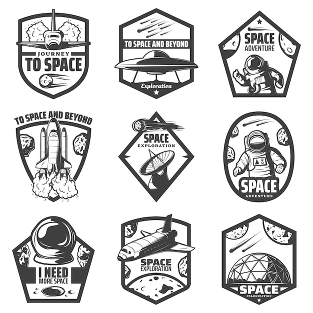 Vintage monochrome space labels set with spaceships ufo astronauts rocket antenna helmet scientific station comets meteors isolated Free Vector