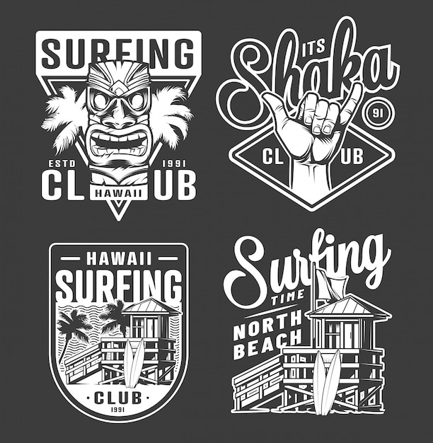 Vintage monochrome surfing club labels Free Vector