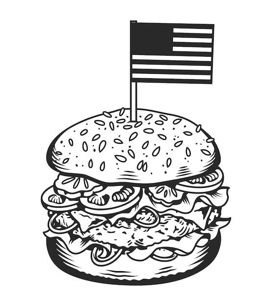 빈티지 흑백 맛있는 햄버거 개념 무료 벡터