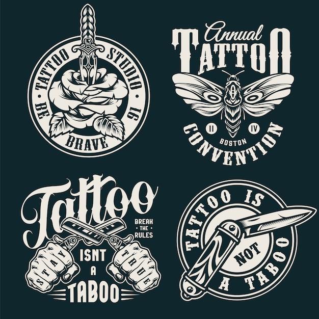 Старинные монохромные татуировки салона этикетки Бесплатные векторы