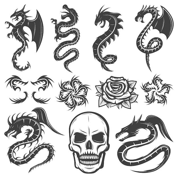 Collezione di tatuaggi monocromatici vintage Vettore gratuito