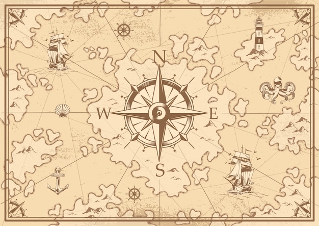 Vintage monochrome treasure map Free Vector
