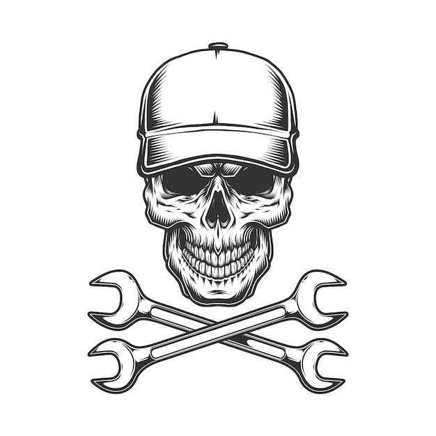 Винтаж монохромный череп грузовика Бесплатные векторы