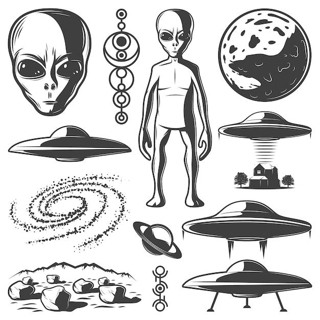 Set di elementi ufo monocromatici vintage Vettore gratuito