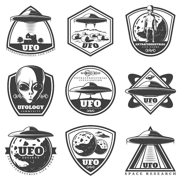 Vintage monochrome ufo labels set Free Vector