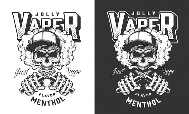 Vintage monochrome vaping label Free Vector