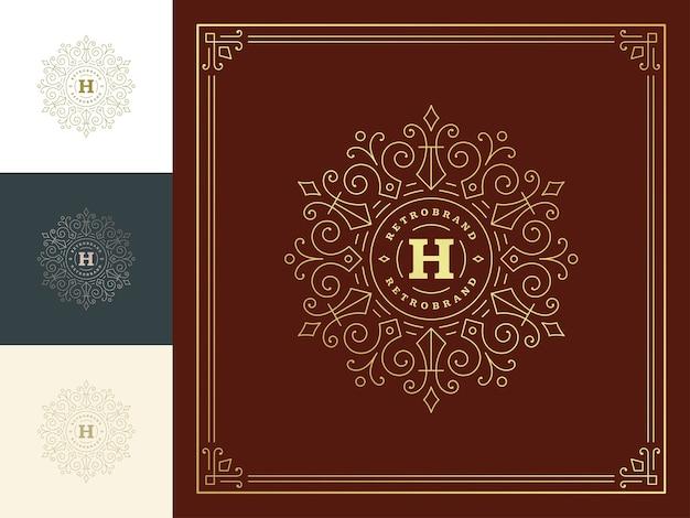 ヴィンテージモノグラムロゴエレガントなラインアート優雅な装飾品ビクトリア朝様式のテンプレートが繁栄します。 Premiumベクター