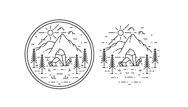 Vintage monoline crystal adventure badge Premium Vector