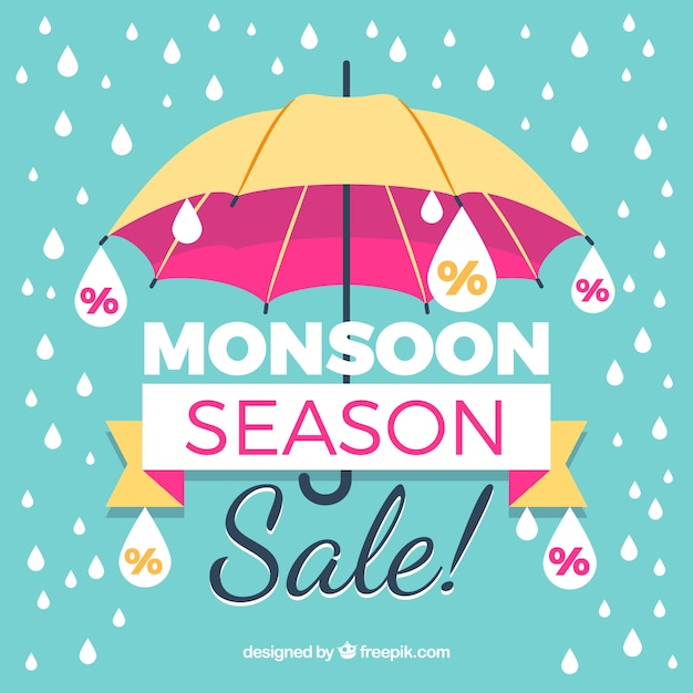 Vintage monsoon sale background with umbrella and drops Free Vector