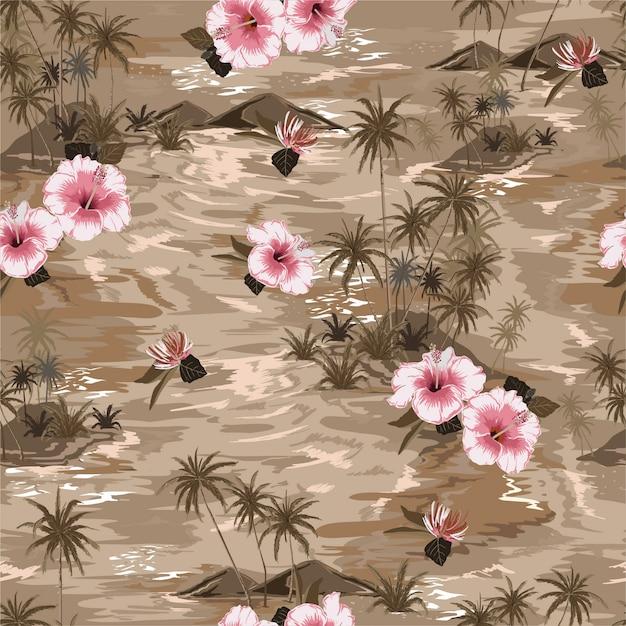 Vintage mood monotone beige island summer paradise pattern Premium Vector