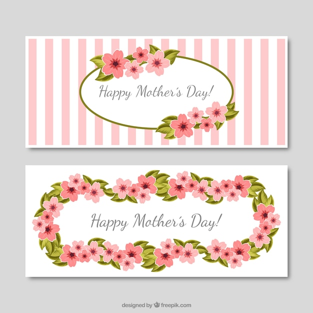Vintage Mother S Day Banners With Stripes And Flowers