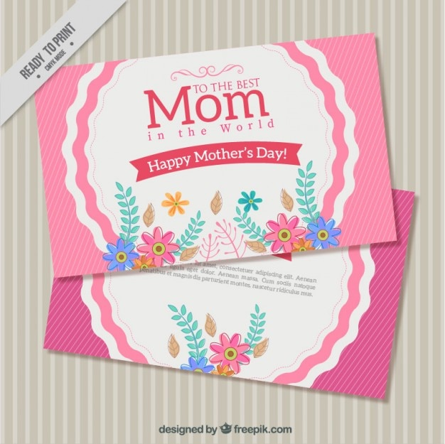 Vintage mother\'s day greeting with hand drawn\ flowers