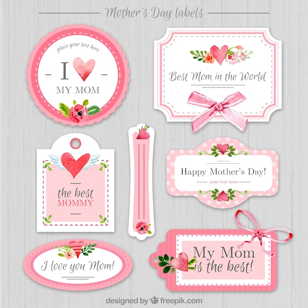 Vintage mother's day stickers  Premium Vector