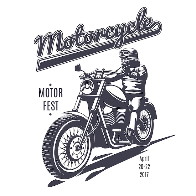 Vintage moto fest logotype template Free Vector