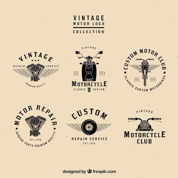 Vintage motor logos collection Vector