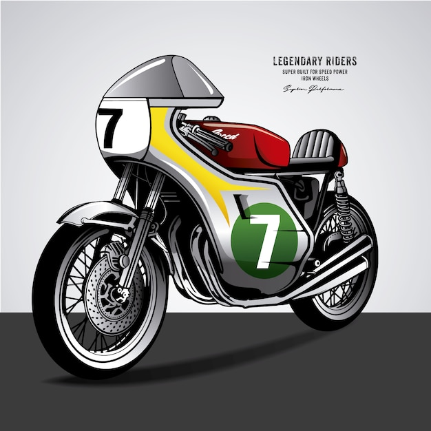 Vintage Motorbike With Number Seven Free Vector