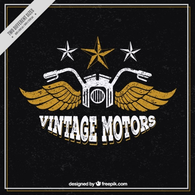 Vintage motorbike with wings badground Free Vector