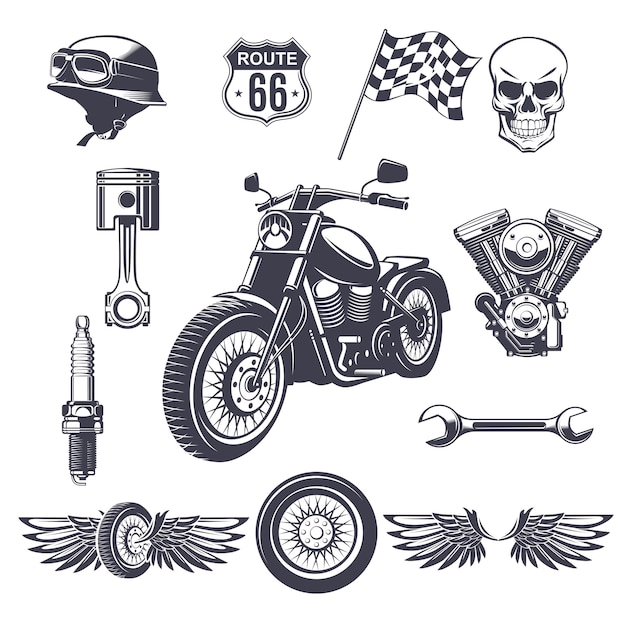 Vintage motorcycle elements collection Free Vector
