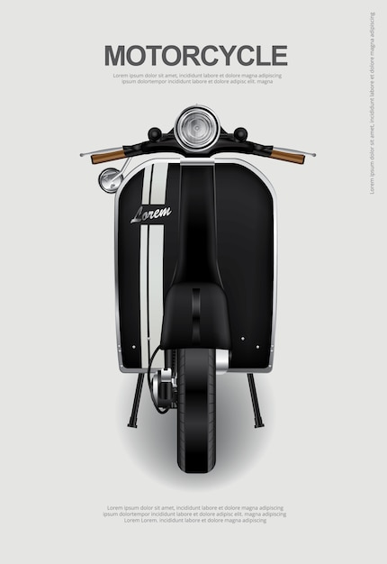 Vintage motorcycle isolated vector illustration Premium Vector