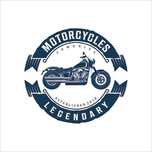 Vintage motorcycle logo design Premium Vector