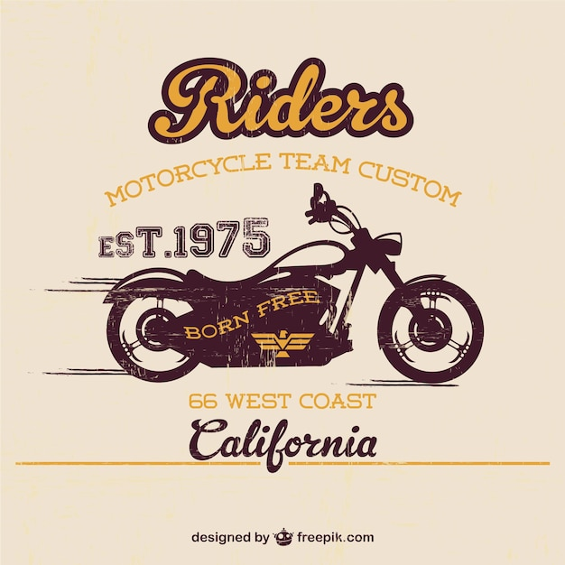 Vintage motorcycle poster Free Vector