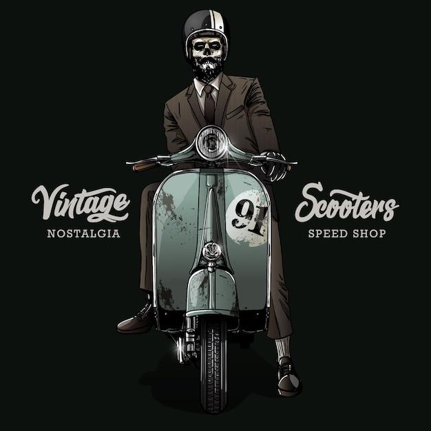 Vintage motorcycle poster Premium Vector