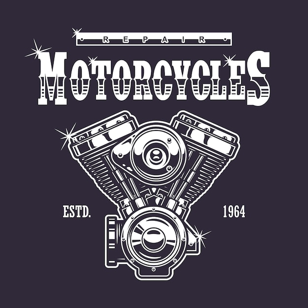 Vintage motorcycle print. monochrome on dark background Free Vector