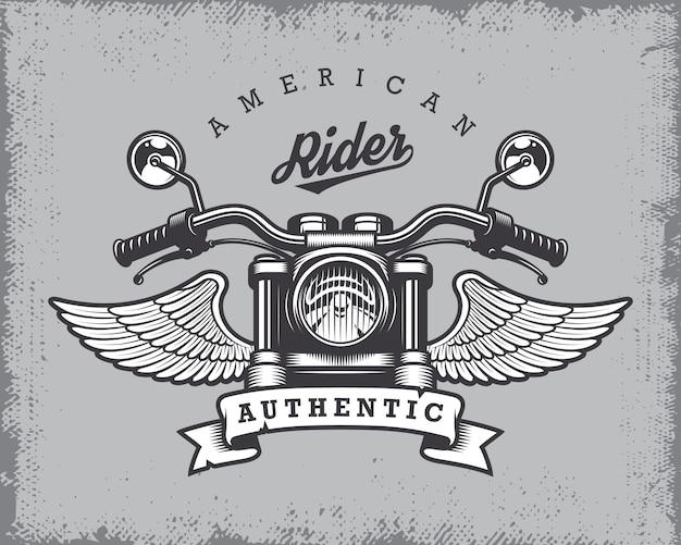 ビンテージバイクプリントバイク、翼、グランジ背景にリボン。 無料ベクター