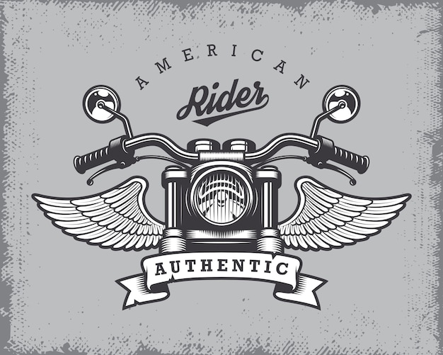 Vintage motorcycle print with motorcycle, wings and ribbon on grange background. Free Vector