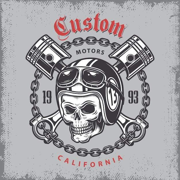 Vintage motorcycle print with skull in motorcycle helmet and crossed pistons on grange background. Free Vector