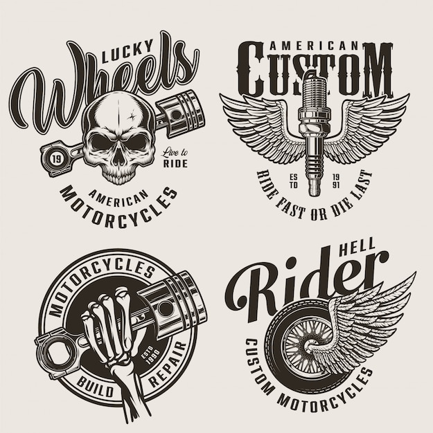 Эмблемы службы ремонта старинных мотоциклов Бесплатные векторы