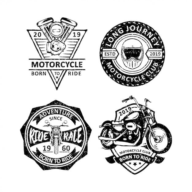 Vintage motorcycles club badges Vector | Premium Download