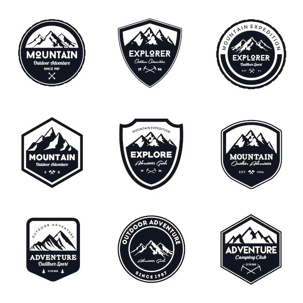 Vintage mountain & outdoor badges set Premium Vector