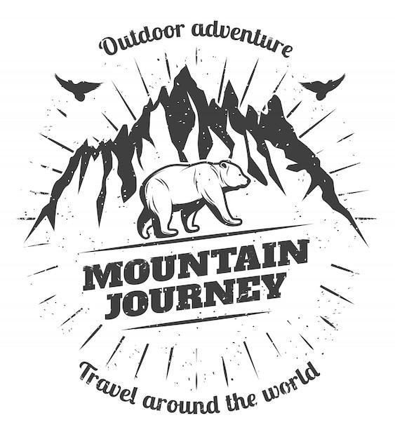 Значок vintage mountain travel Бесплатные векторы