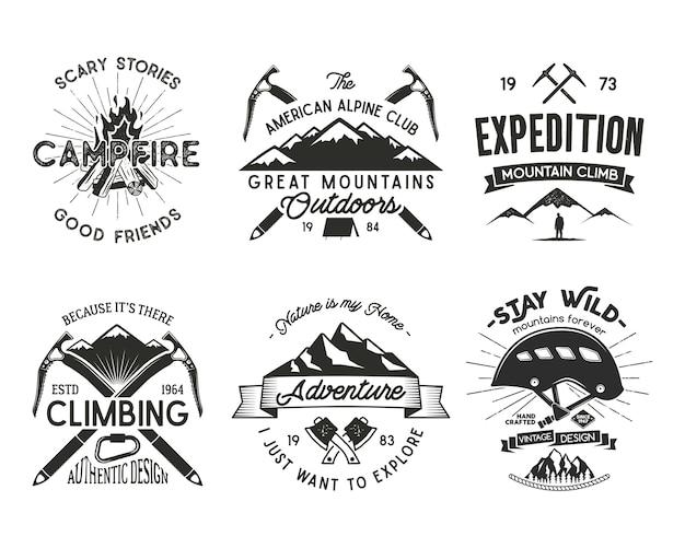 ヴィンテージ登山バッジセット。クライミングロゴ、ヴィンテージエンブレム。 Premiumベクター