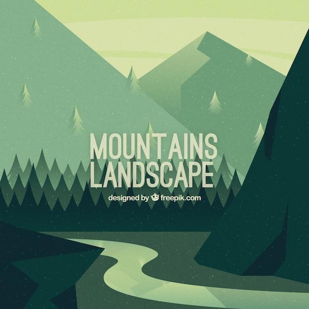 Vintage mountainous landscape background with\ river