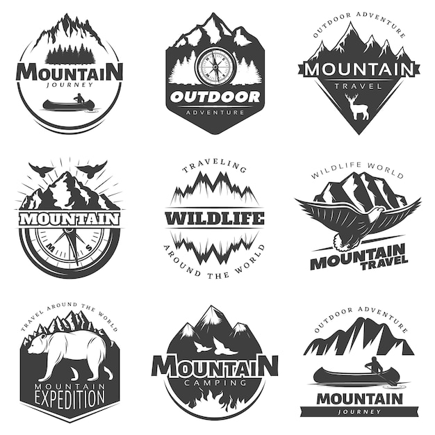 Vintage mountains badge set Free Vector