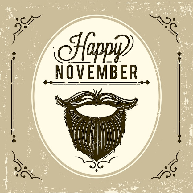 Vintage movember background with beard Free Vector