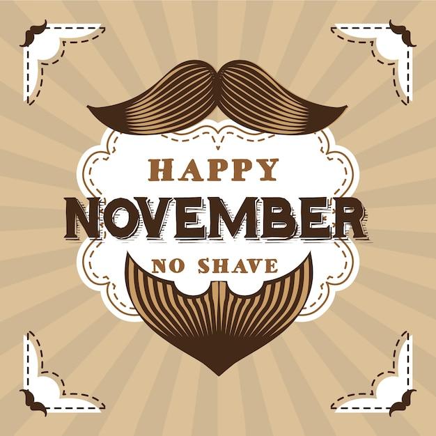 Vintage movember no shave background Free Vector