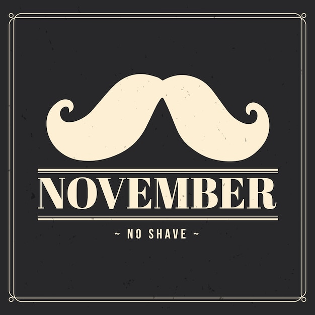 Vintage movember no shave wallpaper Free Vector
