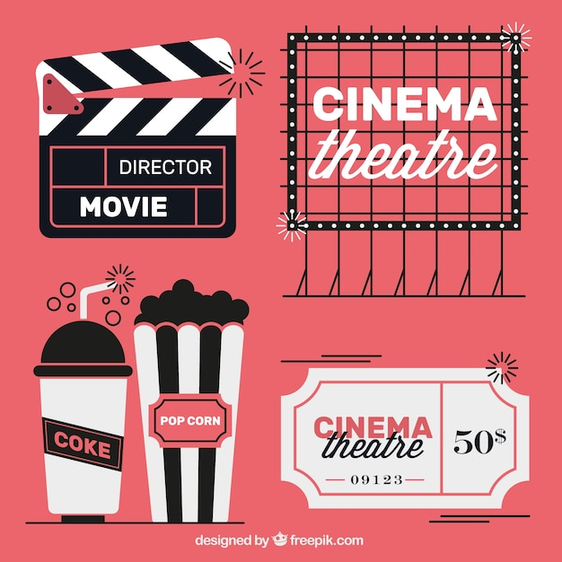 Vintage movie elements in three colors Free Vector