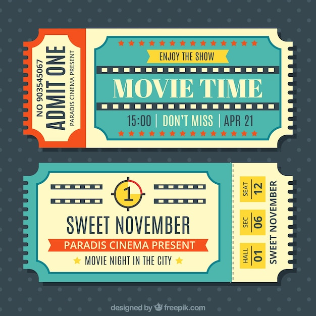 Vintage movie tickets set Vector – Movie Ticket Template Free Download