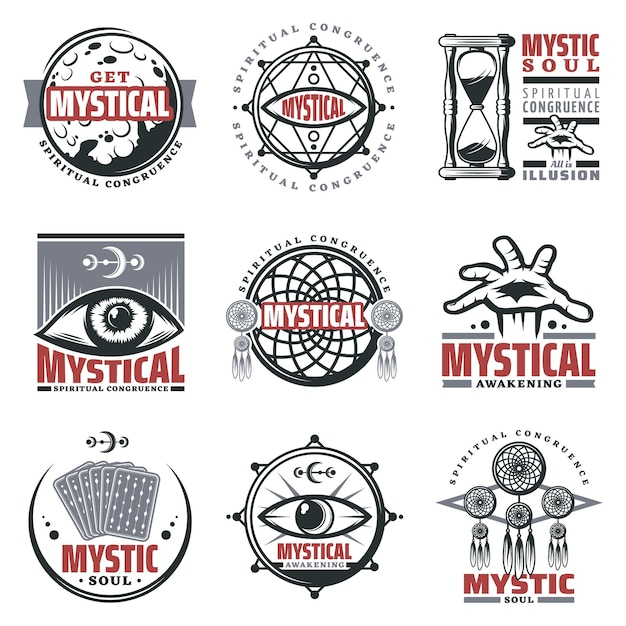 Vintage mystical spiritual emblems set with inscriptions moon sandglass mystic symbols jewelry third eye tarot cards isolated Free Vector