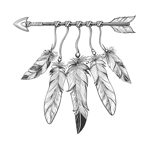 Vintage nativity arrow with feathers Premium Vector