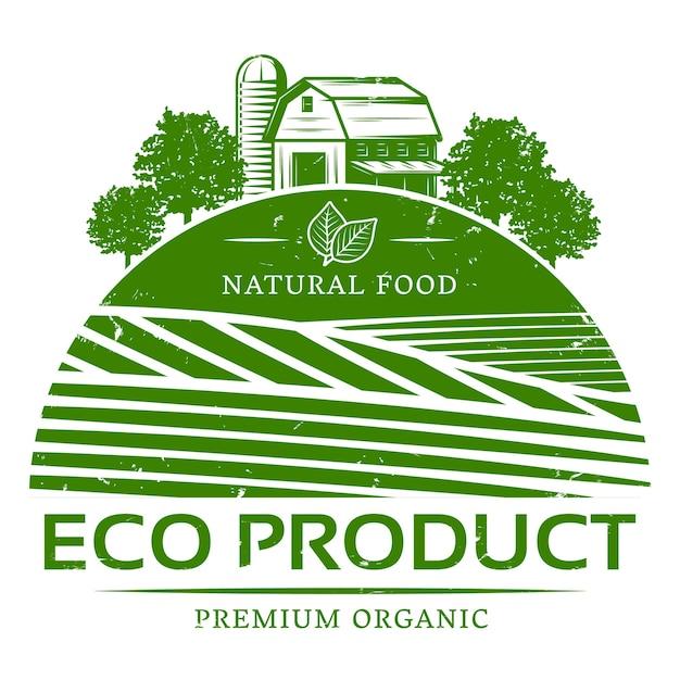 ヴィンテージ自然農業グリーンラベルテンプレート 無料ベクター