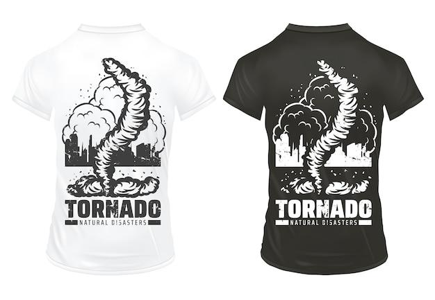 Modello di stampe vintage disastro naturale con scritta città danneggiata tornado su camicie bianche e nere isolate Vettore gratuito