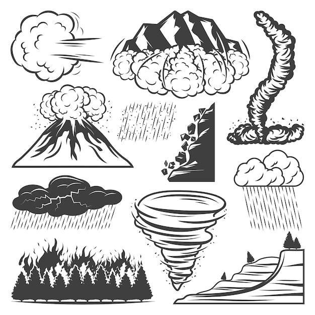 Коллекция старинных стихийных бедствий с извержением вулкана торнадо, ливнем, градом, грозой, оползнем, лавиной, лесным пожаром, изолированным Бесплатные векторы