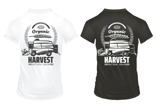 Modello di stampe di grano biologico naturale vintage con iscrizioni spighe di grano che raccolgono veicolo su camicie isolate Vettore gratuito