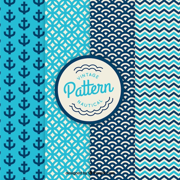 Vintage nautical and abstract patterns set Free Vector