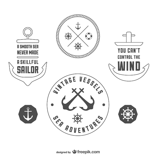 vintage nautical badges template vector free download